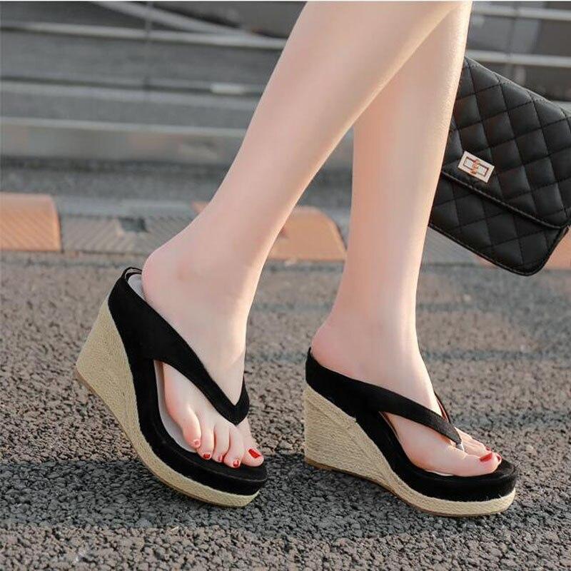New 2020 Women Slippers Fashion Summer 11CM High Heel Slippers Beach Flip Flops Slipper Wedge 4CM Platform Beach Shoes Sandals