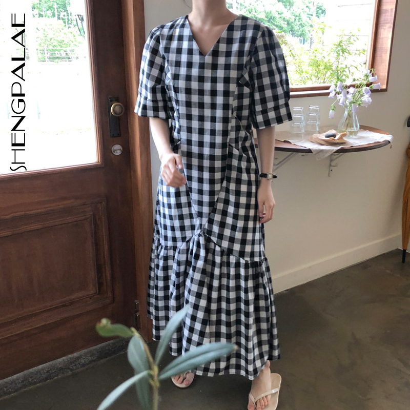 SHENGPALAE 2020 New Summer Women Vintage Loose High Waist Slim Was Thin Elegant Plaid V-neck Shoer Sleeve Maxi Dress ZA4727