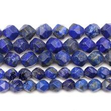 цена Natural Stone Faceted lapis lazuli Loose Beads 6-10mm Gem Stone Beads for Jewelry Making DIY charm Bracelets for men women 15'' онлайн в 2017 году
