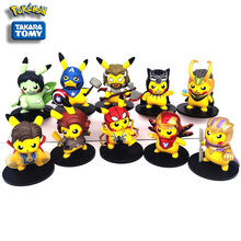 10cm Pokemon Pikachu cosplay Spiderman Iron Man Thor Captain America Hulk Model Cartoon Movie Toy Children Christmas Gift