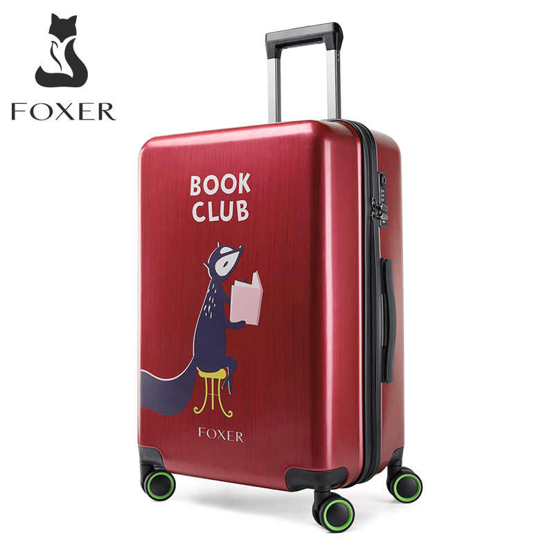 Foxer Rolling Bagage Unisex Grote Capaciteit Bagage Trunk Pc Universele Wiel Vrouwen Reizen Koffer Verstelbare Handvat 20 24 Inch