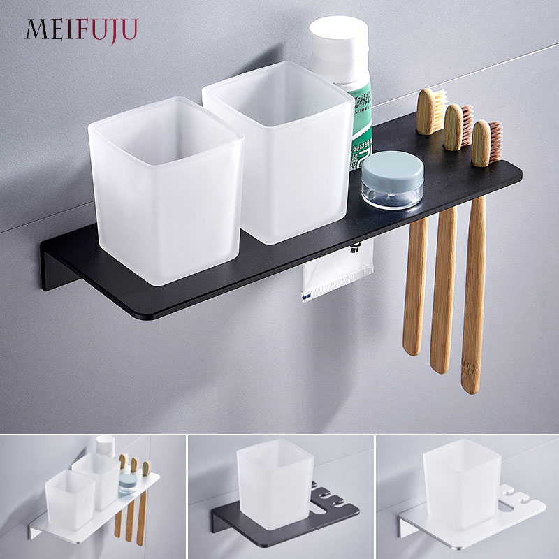 Silver Double Toothbrush Holder With Tooth Holder Aluminum Black Tumbler & Cup Holder Wall Mounted Bath Product Toothpaste Rack