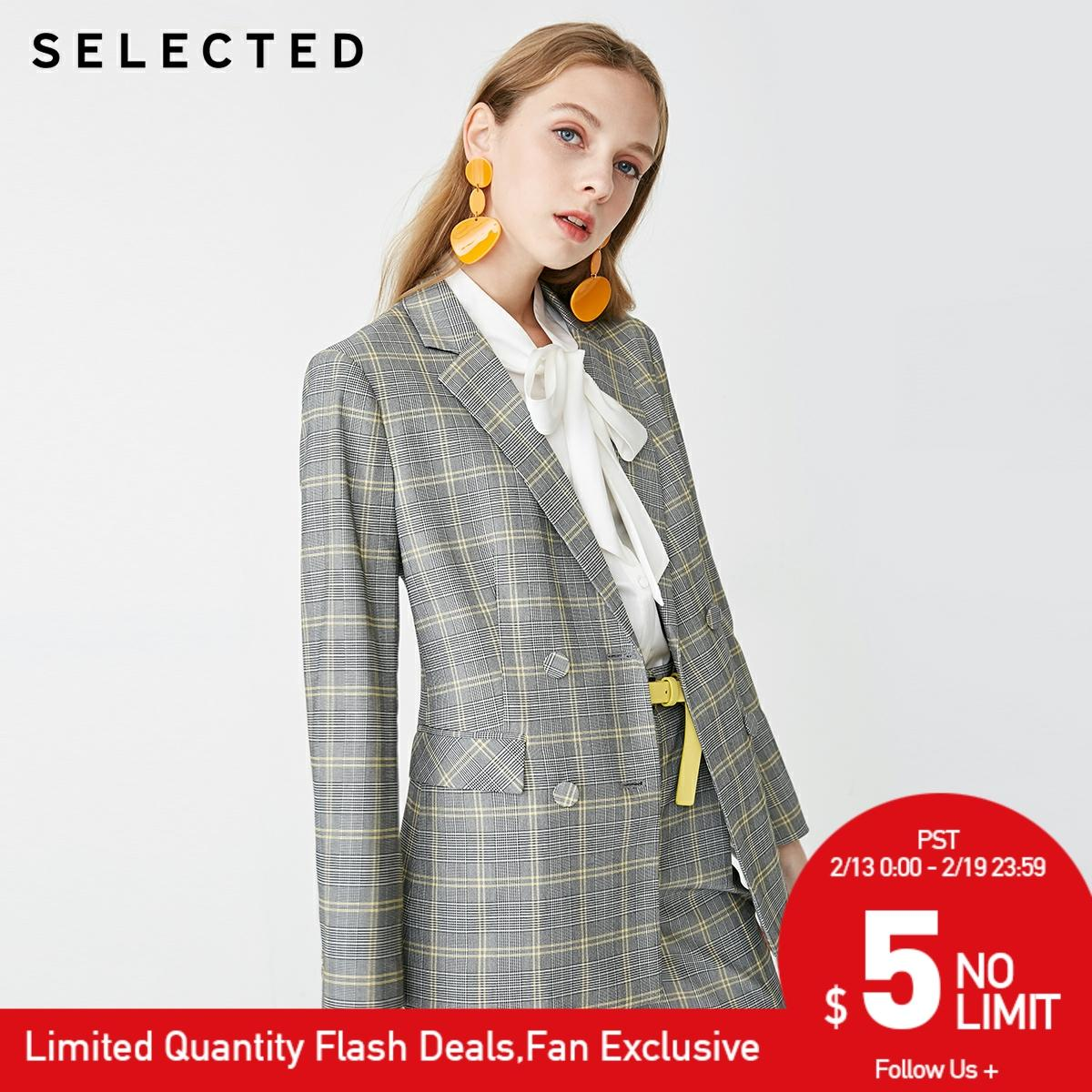 SELECTED Women's Plaid New Business Casual Blazer  S|419172502【Fan Get New Arrivals Coupons In The Description】
