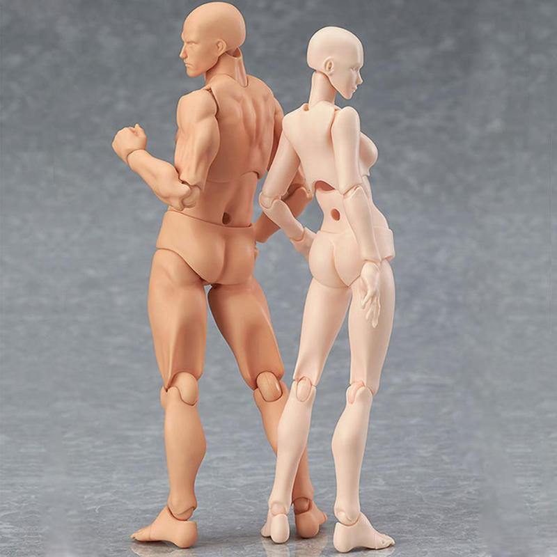 PVC Action Figure Human Movable Body Joints Doll Male Female Nude Archetype Models Ornament For Sketch Drawing