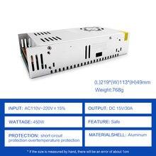Fuente de alimentación conmutada AC DC, conversor de fuente de alimentación SMPS de 15 V, 30A, CA de 220V, 110V a CC de 15 V, transformador de iluminación SMPS de 15 Voltios, 450W
