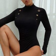 Black Bodysuit Women Long Sleeve Winter Bodycon Tops Turtleneck Fleece Sexy Ladies Club Windproof Jumpsuit