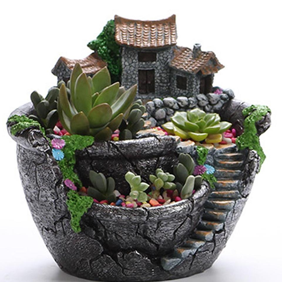 Resin Succulent Plant Pot Exquisite Bonsai Unique Flower Pot Garden Planter Office Holder Desktop Ornement Garden Pots Planters Flower Pots Planters Aliexpress