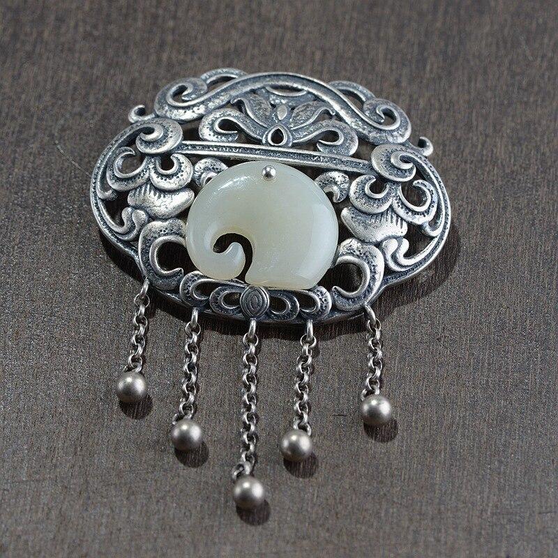 FNJ éléphant Jade pendentif 925 argent Original pur S925 argent pendentifs pour la fabrication de bijoux femmes Fine fleur gland perles