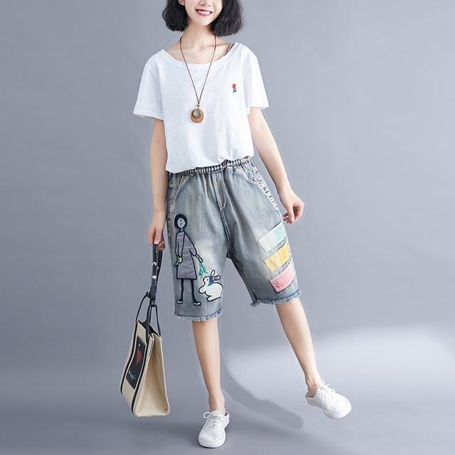 5176 Women Summer Streetwear Elastic High Waist Cartoon Embroidery Cute Korean Style Lady Female Oversized Loose Denim Shorts 4