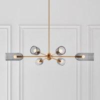 Modern smoke gray LED chandelier living room lighting Nordic dining room bedroom fixtures light luxury glass hanging lamp