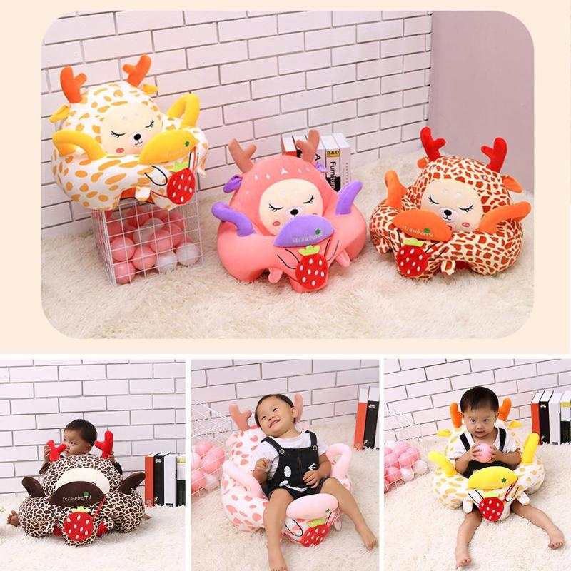 Washable Plush Sofa Chair Cover Without Filling Cotton Cartoon Hand-held Belt Toddler Baby Seat Home Textile Decoration