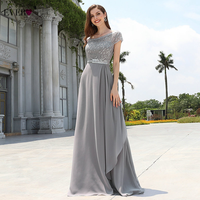 Elegant Evening Dress Chiffon Ever Pretty EP00546GY A Line Sequined Ruffles Long Dresses For Women Formal Gown For Ladies 2020