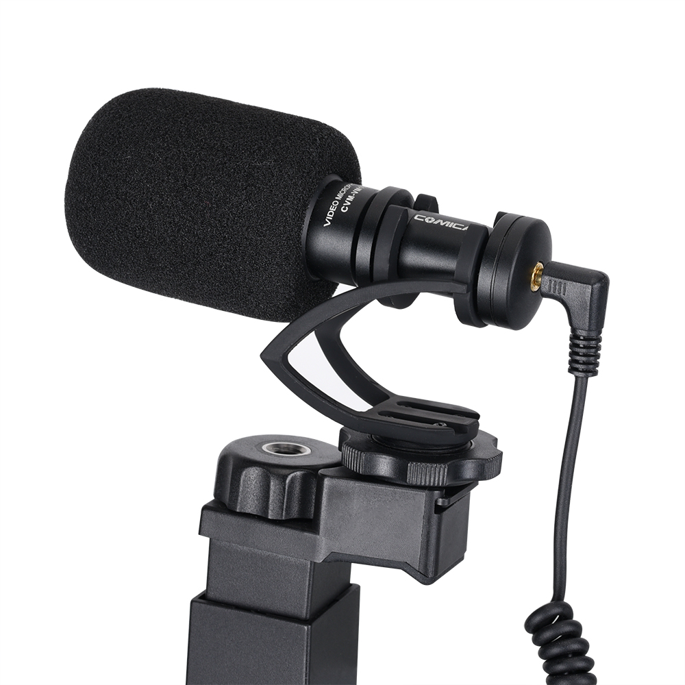 COMICA CVM VM10 Video Kit w Condenser Microphone LED Light Shock Mount Grip Video Shooting Gear for iPhone Samsung Xiaomi Huawei Microphone Accessories     - title=