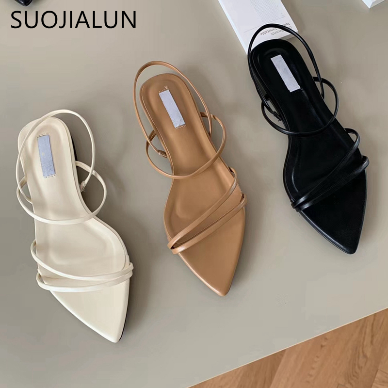 SUOJIALUN Fashion Narrow Band Women Sandals Flat Heel Back Strap Summer Shoes Gladiator Casual Sandal Pointed Toe Dress Shoes