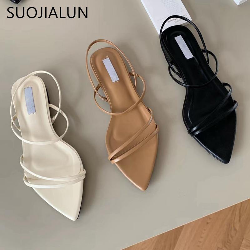 SUOJIALUN, sandalias de moda de banda estrecha para mujer, zapatos de verano con tacón plano y correa trasera, sandalias de gladiador informales, zapatos de vestir con punta estrecha