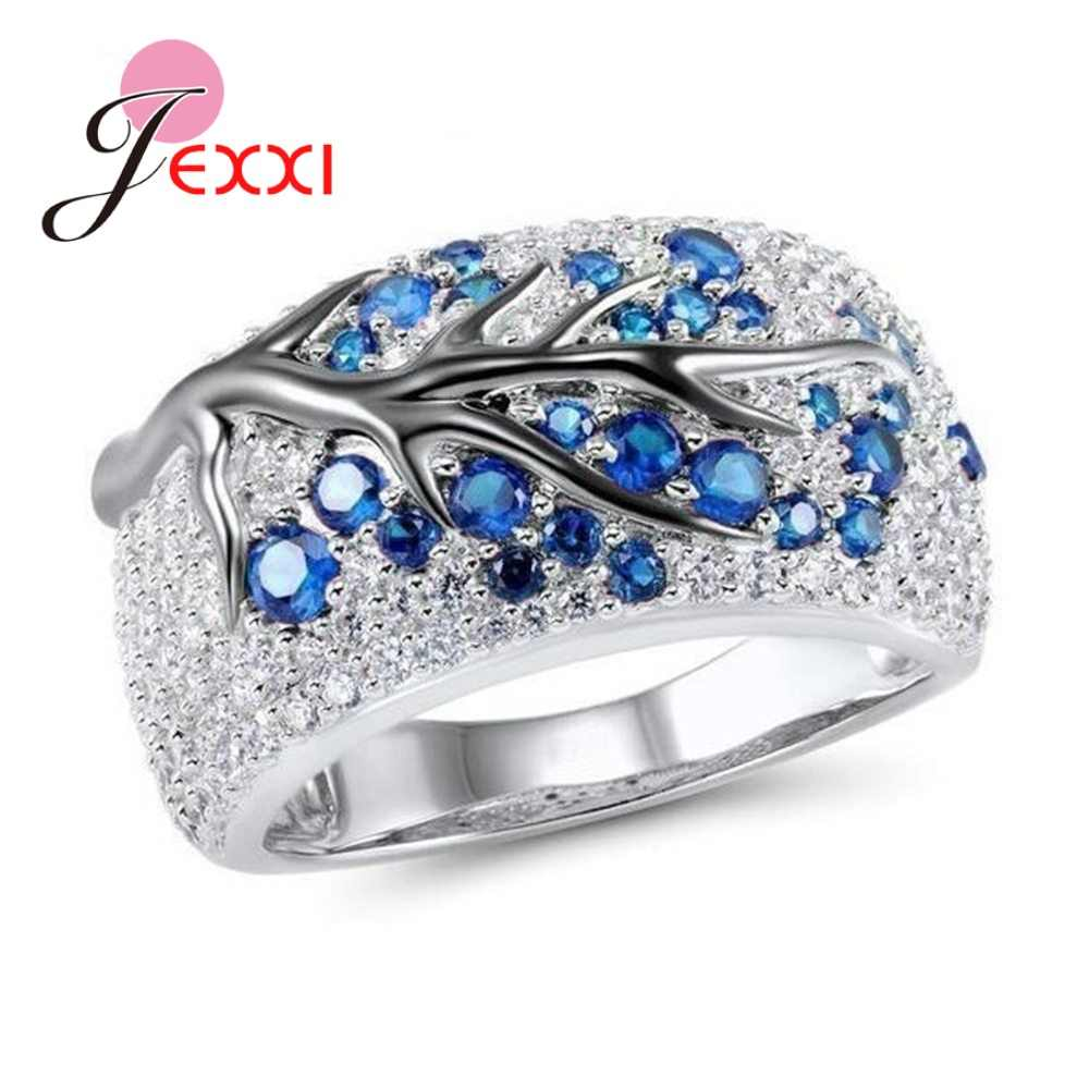 Fantastic Solid 925 Sterling Silver Austrian Crystal Finger Rings Colorful Tree Original Design for Men Women Couple Jewelry