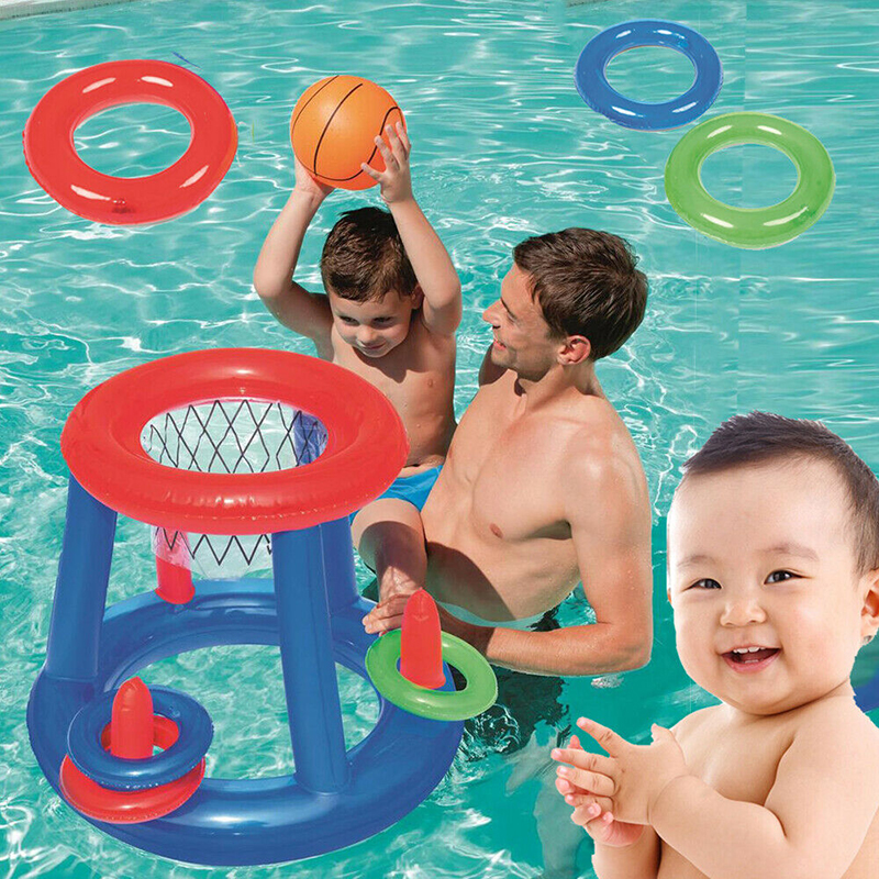 Childrens Inflatable Floating Basket Ball Hoop Ring Toss Game Swimming Pool Toy Swim Pool Basketball Hoop Toy Inflatable Toy