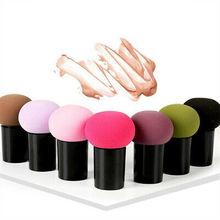 Makeup Cosmetic Sponge Makeup Foundation Sponge Blender Powder Smooth  Round Head Mushroom Puff Handle Beauty Puff 2PCS недорого
