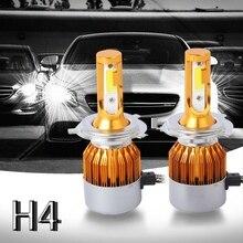 ELEG-2pcs C6 светодиодный автомобилей головной светильник комплект COB H4 36 Вт 7600LM белый светильник лампы золото