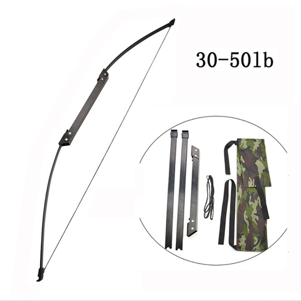 30-50 LBS Folding Takedown Bow 54 Inches Portable With Bag Straight Pull Longbow For Archery Hunting Shooting Outdoor