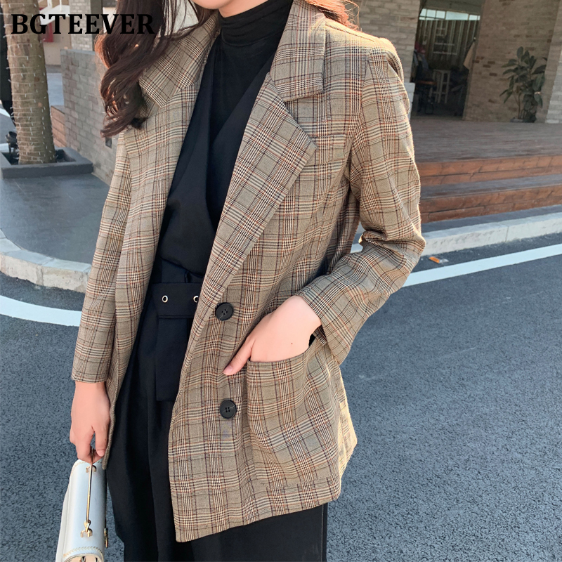 BGTEEVER Casual Loose Women Blazer Double-breasted Plaid Female Suit Jacket Notched Collar Women Coat Femme Winter Outwear 2019