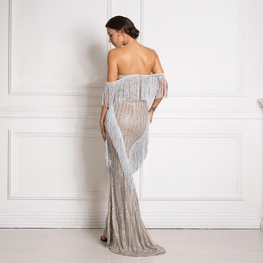 Paillettes Patchwork gland Sexy robe de soirée hors de l'épaule pailletée Maxi robe sans bretelles élégant brillant longues robes - 2