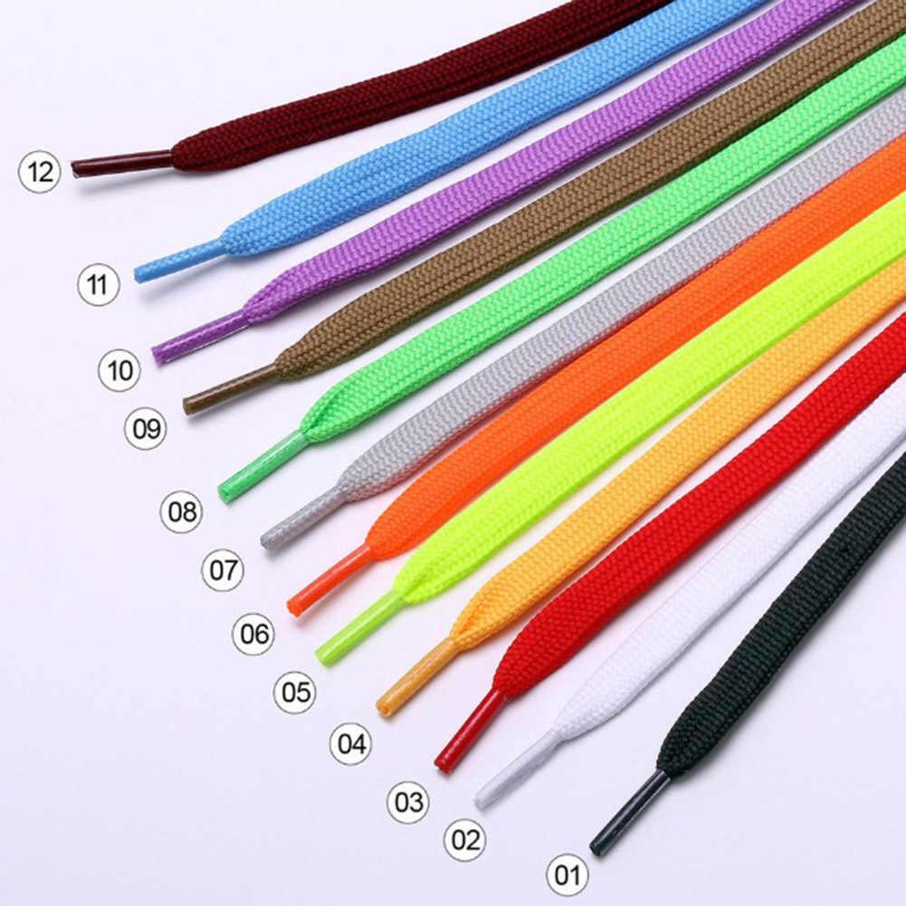 Cordones planos informales Unisex, 1 par, con colores sólidos elásticos para zapatos, cordones de poliéster para zapatos de mujer y hombre, cordones de lona a la moda de 100cm
