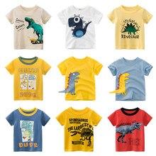 Verão crianças meninos t camisa de manga curta bebê meninas algodão crianças o-pescoço t topos impressão dinossauro menino roupas da criança novo 2020