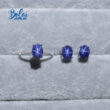 Created starlight sapphire jewelry set earrings and ring with 925 sterling silver fine jewelry for girl bolaijewelry promotion