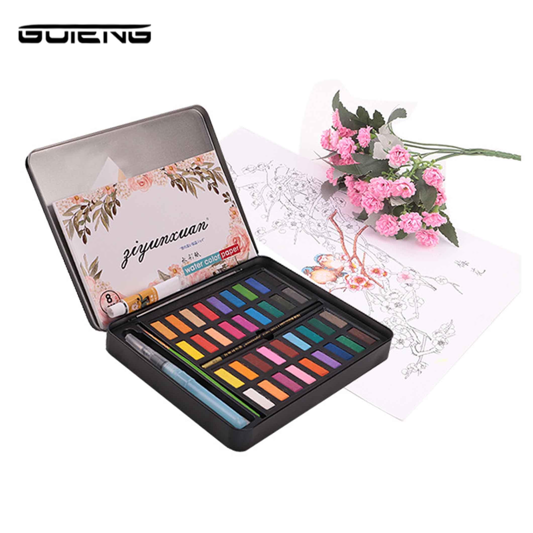 Guteng Art Watercolor Tin Palette Paint Set With 36 Colors Half Pan Paints Portable Watercolor Paint Set For Field Sketch