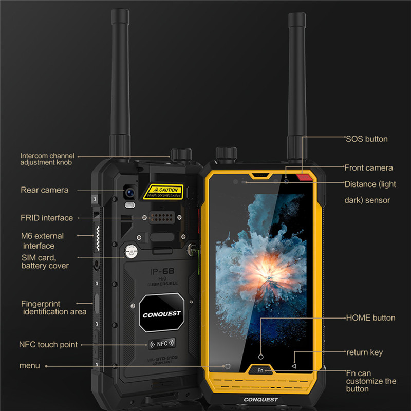 CONQUEST S1 IP68 Walkie Talkie Rugged Phone 1D 2D Bar/QR Code Scanner/RFID/NFC/OTG/IoT Intelligent Handheld Shockproof cellphone