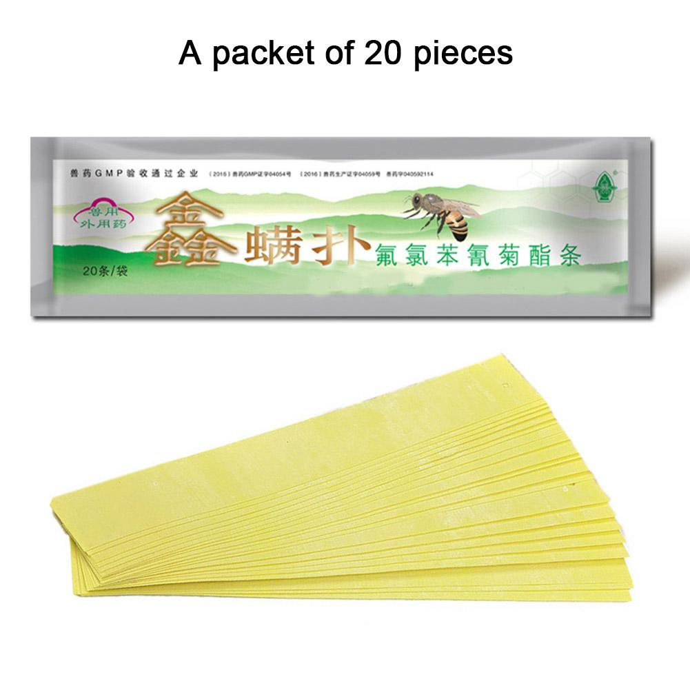 20Pcs/Pack 20 Fluvalinate Strips Anti Insect Pest Controller Instant Mite Killer Miticide Bee Medicine Mite Strip