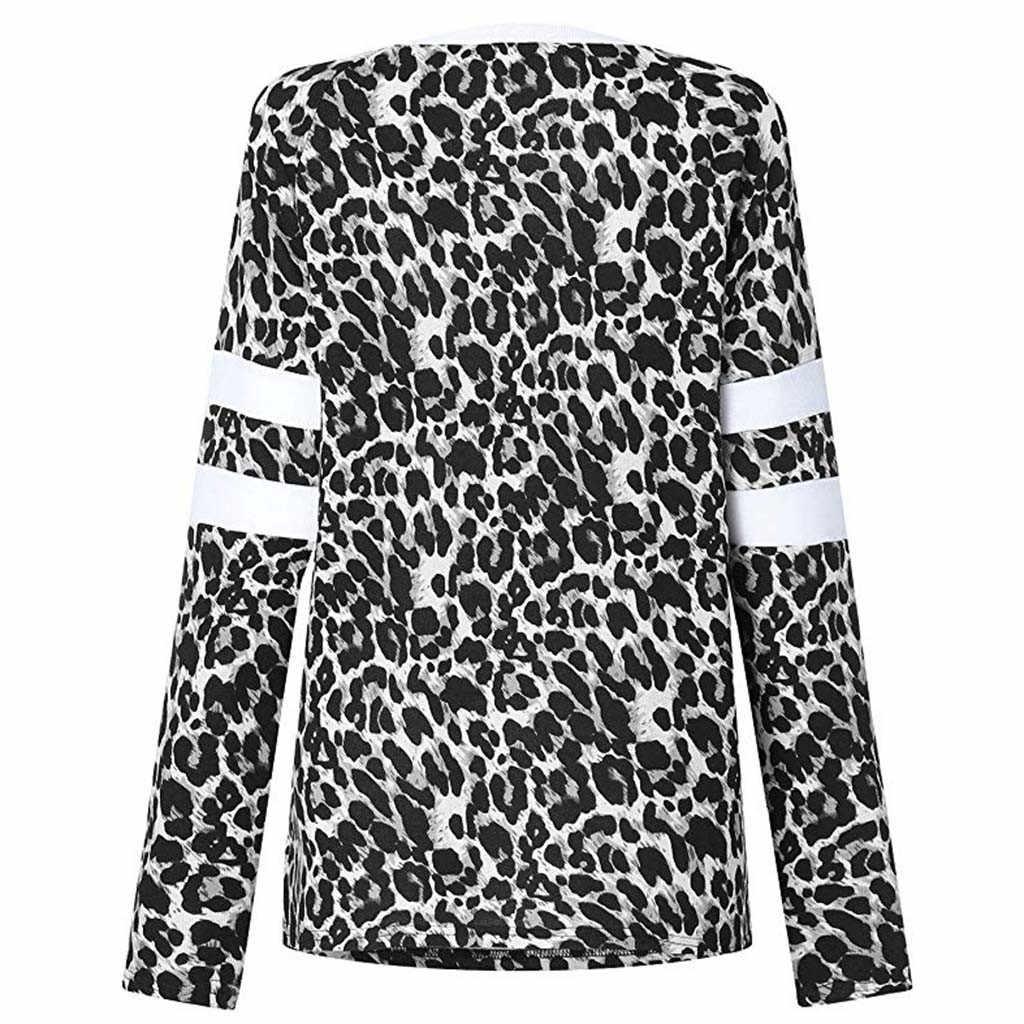 レディースヒョウ柄 Tシャツだぶだぶ長袖半袖ジャンパー女性トップス tシャツ女性のカジュアルなプラスサイズ Camiseta