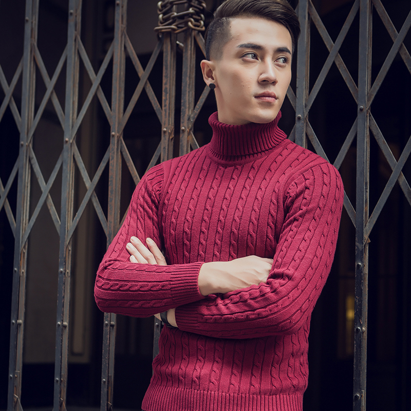 2020 New Winter Thick Warm Sweater Fashion Solid Long Sleeve Turtleneck Sweater Male Slim Fit Knitted Pullover Plus Size M-3XL