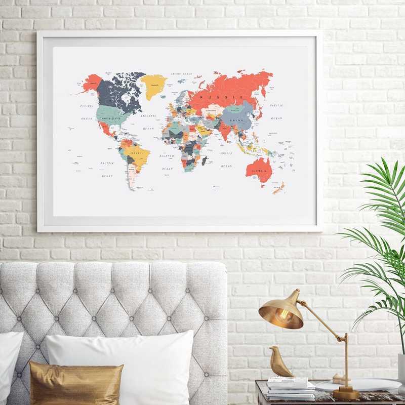 خريطة العالم المشارك طباعة سعيد الألوان الرسم على لوحات القماش الجدارية المرجان الأزرق الأصفر البط البري الوردي جدار صورة لغرفة المعيشة ديكور المنزل