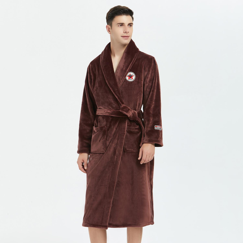 Casual Coral Fleece Men Robe Softy Nightdress Winter Warm Kimono Bathrobe Gown Sleepwear Flannel Nightwear Intimate Lingerie