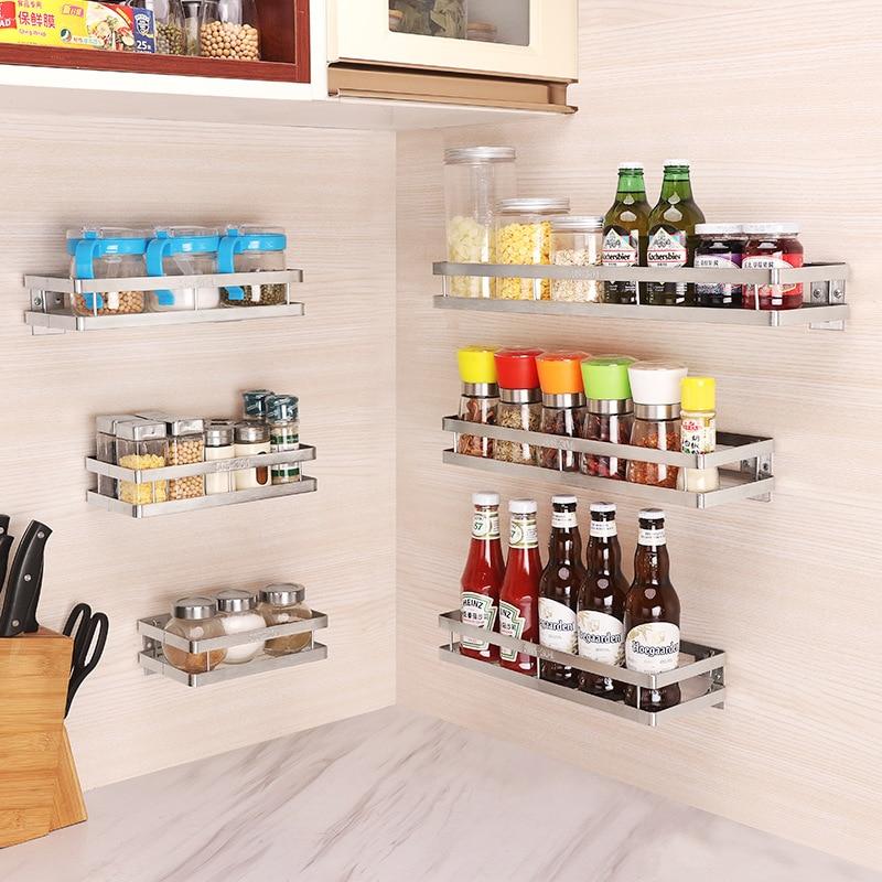 Kitchen Wall Shelf Storage Organizer Shelf Spice Rack Punch Free Stainless Steel Storage Shelves Rack For Kitchen Bathroom
