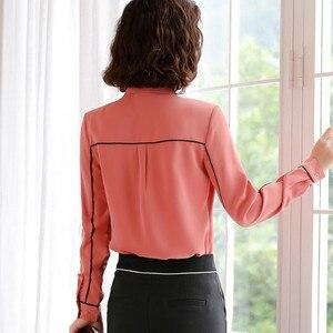 Image 2 - אלגנטי שיפון חולצה נשים ארוך שרוול סתיו חדש Yemperament קשת עניבת Slim חולצות משרד גבירותיי עבודה מקצועי חולצות