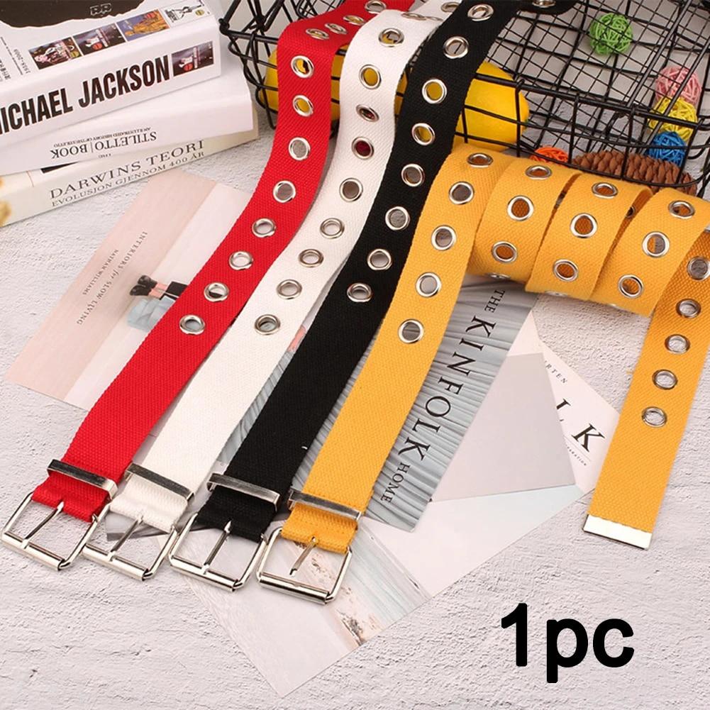 Metal Belt Unisex Students Jean Canvas Waist Belts Tide Silver Pin Buckle