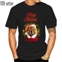 Рождественская футболка Chow с красным рисунком Санта-Клауса, хлопковая футболка, крутой подарок, индивидуальная футболка