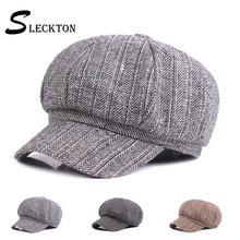 SLECKTON Herringbone Cotton Octagonal Hat Women Winter Beret Painter Hat Newsboy Hat Striped Ladies French Hat Girls Hat Femme