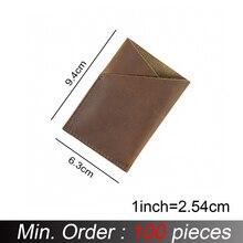 100 יח\חבילה 9.5x6.8cm אשראי כרטיס בעל אמיתי מטורף סוס עור מיני מטבע ארנקי כרטיס מחזיקי בציר עיצוב