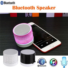 Bluetooth Speaker Subwoofer Colorful LED Mini Crack Wireless Audio Speakers Support TF Card AUX with Mic