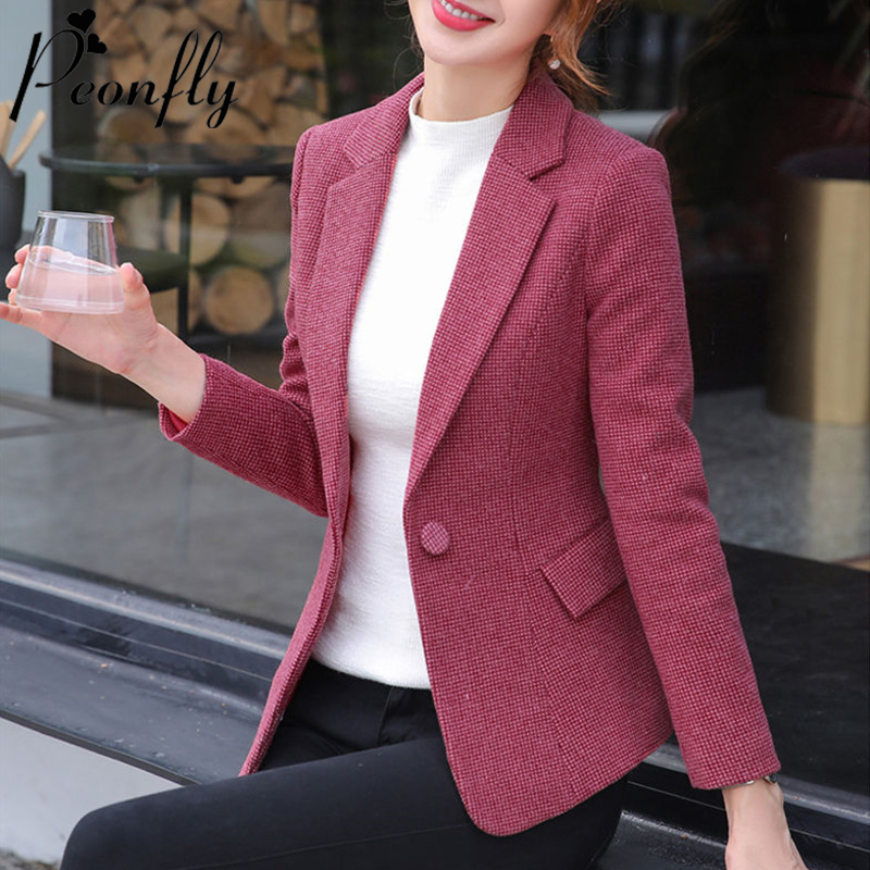 PEONFLY Fashion Plaid Women Blazer Single Button Long Sleeve Female Casual Coats Office Ladies Outerwear Chic Tops Blazer