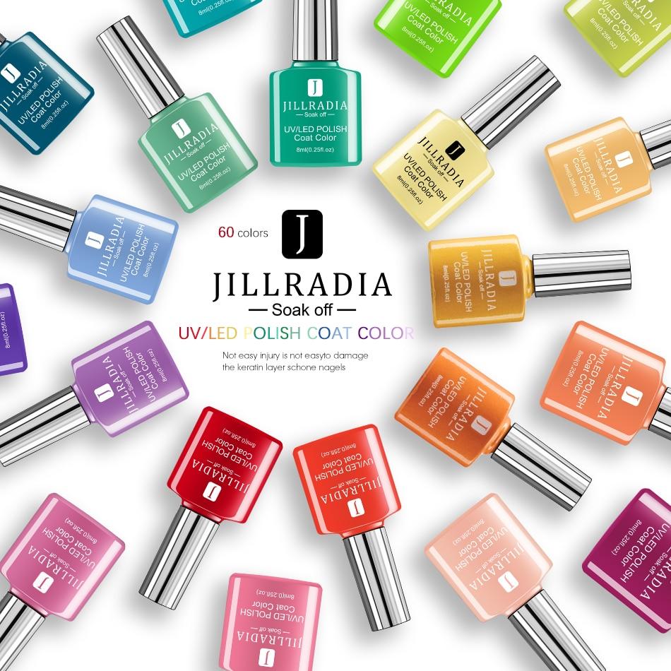 Jillradia 8 ML Nail Gel Polish 60 Hot Sale Colors Gel Nail Varnish UV Soak Off Gel Lacquer Hybrid Painting Gel For Home Use DIY