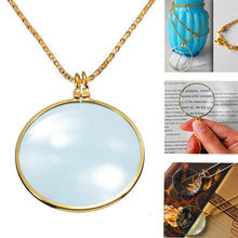 Creative Hanging Type Magnifier Pendant Necklace Women 5X Power Glass Lens For Reading Necklaces Clavicular Chain Big Round Drop(China)