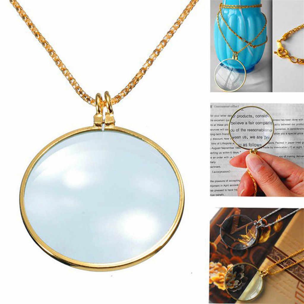 Dekoracyjny naszyjnik Monocle z 5x lupa powiększający szklany wisiorek złoty posrebrzany łańcuszek naszyjnik dla kobiet biżuteria