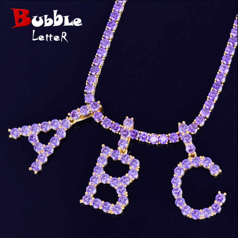 Purple Zircon Tennis Letters Necklaces & Pendant For Men/Women Gold Silver Fashion Hip Hop Jewelry with 4mm Tennis Chain