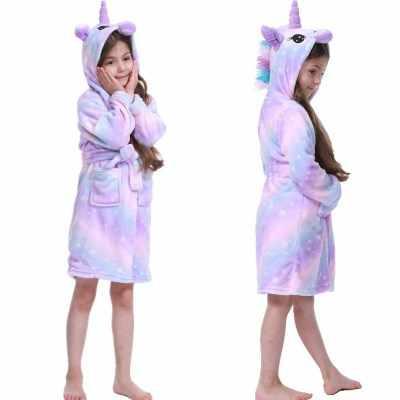かわいいバスローブのための子供の虹ユニコーン柄フード付きの男の子バスローブパジャマ子供服