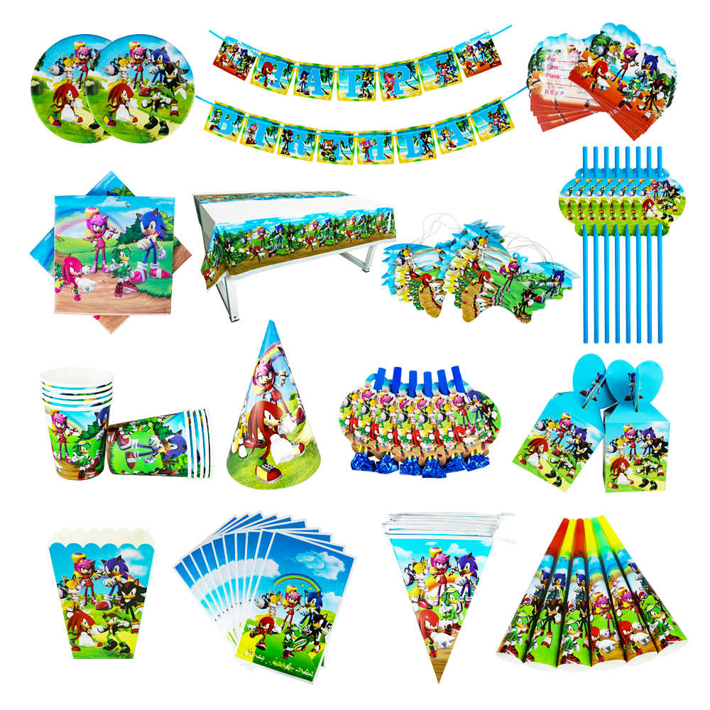 Sonic Verjaardagsfeestje Decoraties Kids Ballon Gift Bag Paper Cups Platen Mes Lepel Baby Douche Wegwerp Servies Levert
